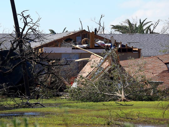 A home is destroyed by Hurricane Harvey on Tuesday,