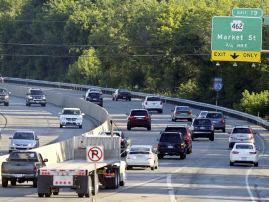 Traffic moves northbound on Interstate 83 toward the Market Street exit. Backlogs onto the interstate have been a problem during construction at the Market Street ramp, but PennDOT officials say the problem should be relieved soon.
