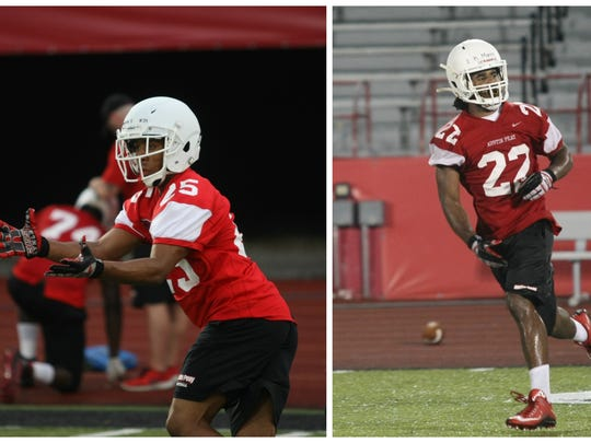 Marvin Franklin (left) and Kendall Morris (right) are both speedy running backs for Austin Peay.