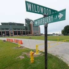 The northern end of Barberry Lane that runs from Wildwood Lane to Valley View has now been gated off. The Green Bay Packers have purchased all the land on either side of the street and removed the homes for use as parking lots.