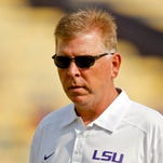 LSU Tigers offensive coordinator Cam Cameron during warm ups before game at Tiger Stadium.
