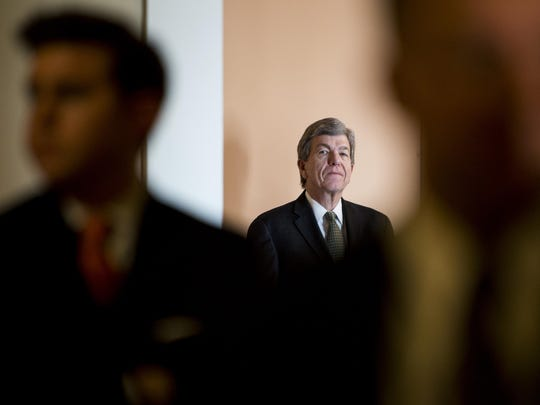 Sen. Roy Blunt, R-Mo., waits for the start of the Senate Republicans media availability in the Ohio Clock Corridor on Tuesday, April 28, 2015.