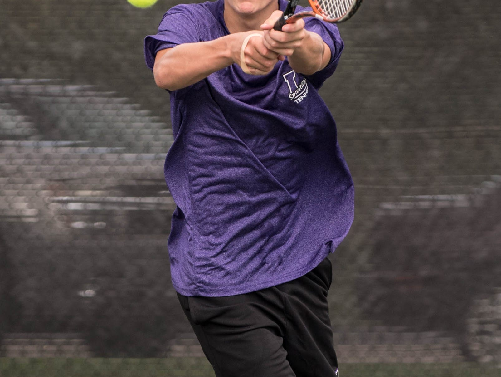 Lakeview High School freshman Cole Henkel during the All City Tennis on Thursday.