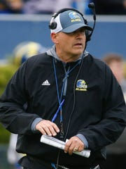 Delaware head coach Danny Rocco presides over his first Blue-White Spring game Saturday at Delaware Stadium.