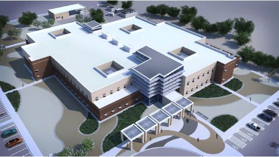 A computer constructed birds-eye view of the new medical clinic. The 49th Medical Group will replace the 44-year-old facility and consolidate services from five outlying buildings. The new medical clinic is expected to be completed by November 2017.
