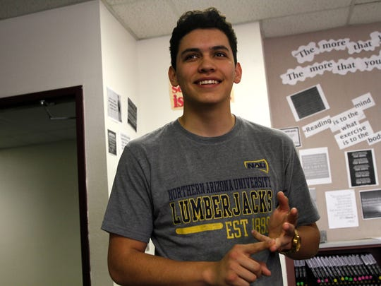"Farmington High School senior Rodolfo Dominguez speaks during an interview on Thursday at the high school. Dominguez won the ""Outstanding Speaker in Debate"" award at the New Mexico Speech and Debate Association State Tournament earlier this year in Las Cruces"