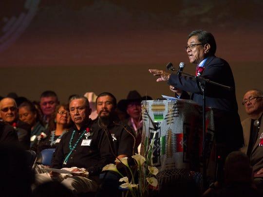 Navajo Nation President Russell Begaye delivers a speech on Friday at the Navajo Nation's Northern Agency inauguration ceremony at the Phil L. Thomas Performing Arts Center in Shiprock.
