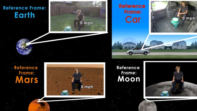 In this screen grab from Ryan Chester's prize-winning short video, he explains Einstein's Special Theory of Relativity.