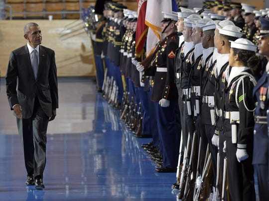 President Barack Obama reviews the troops during an Armed Forces Full Honor Farewell Review for him, Wednesday, Jan. 4, 2017, at Conmy Hall, Joint Base Myer-Henderson Hall, Va.