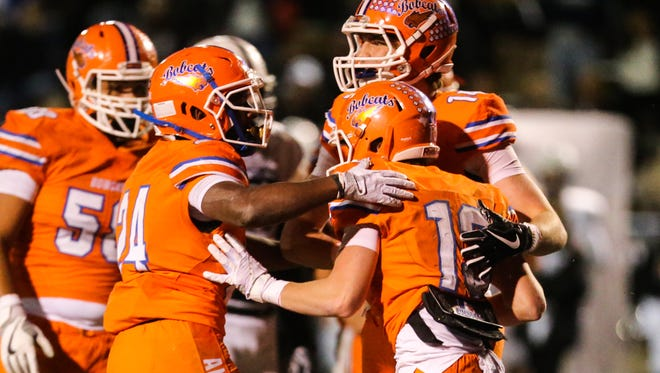 The San Angelo Central football team celebrates a touchdown against Odessa Permian on Friday, Oct. 27, 2017, at San Angelo Stadium.