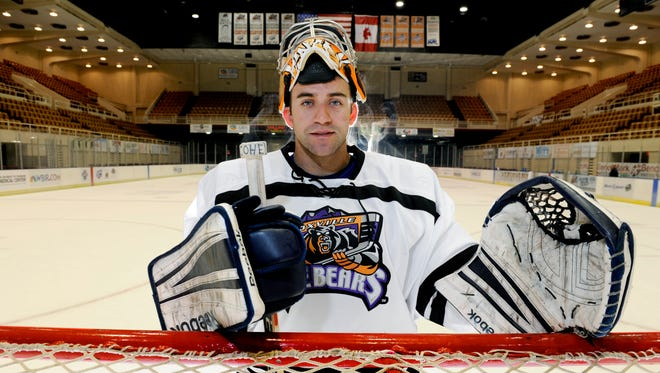 Knoxville Ice Bears goalie Bryan Hince after practice Thursday, Oct. 31, 2013. The Ice Bears play their  home opener on Friday.  (MICHAEL PATRICK/NEWS SENTINEL)