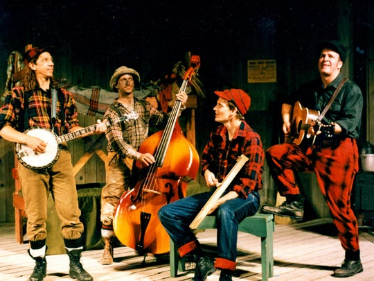 "This scene from the 1996 premiere season of ""Lumberjacks in Love"" at what is now Northern Sky Theater has Doc Heide, Lee Becker, Jeffrey Herbst and Fred Alley, from left. ""Lumberjacks"" returns for a 20th anniversary production this year as part of the summer season at Northern Sky."