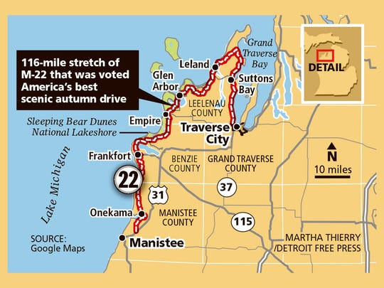 116-mile stretch of M-22 that was voted America's best scenic autumn drive.