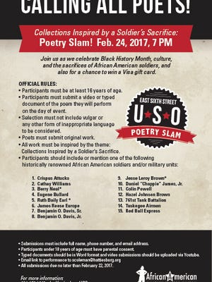 """Collections Inspired by a Soldier's Sacrifice"" poetry slam will be held Feb. 24."