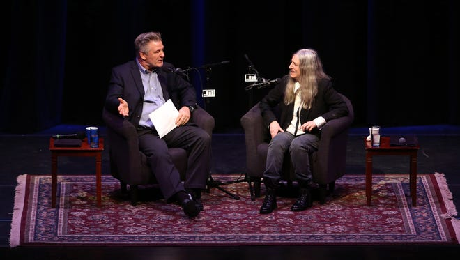 Alec Baldwin interviews Patti Smith at the Mayo Performing Arts Center in Morristown, being taped for Baldwin's 'Here's the Thing' podcast interview series for WNYC studios. Dec. 14, 2016, Morristown, NJ.