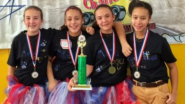 Red Mountain middle School MESA Team 1 placed third overall at the Electric Car Challenge on Nov. 19, 2016, in Albuquerque. Teammates are, from left, Lauren Paulk, Alejandra Orosco, Carlie Paulk and Mayjewel Crosby. The event was hosted by Mathematics, Engineering, Science Achievement.