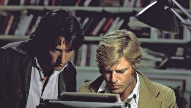 """Robert Redford, right, and Dustin Hoffman in 1976's """"All the President's Men.""""  In this file photo provided by Warner Bros., actors Robert Redford, right, and Dustin Hoffman appear in their roles as reporters Bob Woodward and Carl Bernstein, respectively, in the 1976 film """"All the President's Men."""" (AP Photo/Warner Bros., file)"""