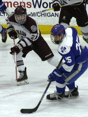 CC's Brendan West carries the puck into the zone against