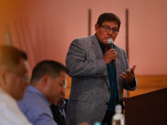 Navajo Nation Council Speaker LoRenzo Bates speaks Thursday during a town hall meeting on veterans issues at the Walter Collins Center in Upper Fruitland.