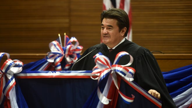 Supreme Court of Guam Chief Justice Robert J. Torres delivers a speech during the inaugural ceremony of Public Auditor of Guam Doris Flores Brooks at the Guam Judicial Center in Hagatna on Jan. 2, 2017.