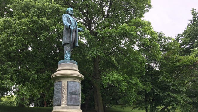 The Frederick Douglass monument has stood in Highland Park for 76 years.