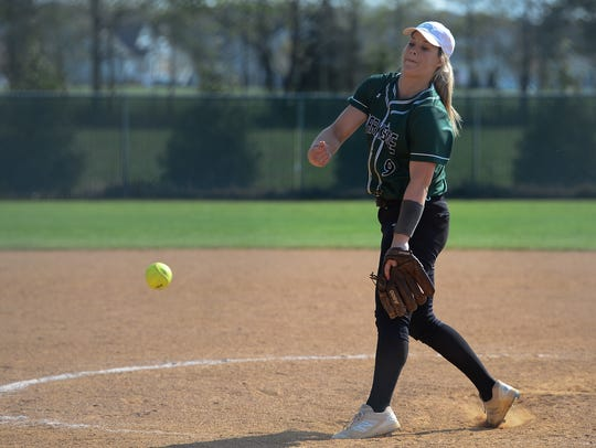 Parkside's Maggie Cannon pitches against Pocomoke on