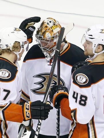 Anaheim Ducks defenceman Hampus Lindholm (47) and defenceman