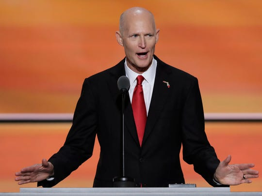 In this Wednesday, July 20, 2016, file photo, Florida Gov. Rick Scott speaks during the third day of the Republican National Convention in Cleveland. (AP Photo/J. Scott Applewhite, File)