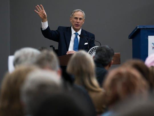 Texas Gov. Greg Abbott discusses new hazard mitigation funding for Hurricane Harvey damage during the Rockport-Fulton Chamber of Commerce luncheon Tuesday, Feb. 13, 2018, at Rockport Health and Fitness Club.