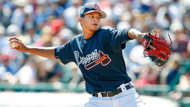 Atlanta Braves relief pitcher Anyelo Gomez (67) throws a pitch during the sixth inning against the Toronto Blue Jays at Champion Stadium.
