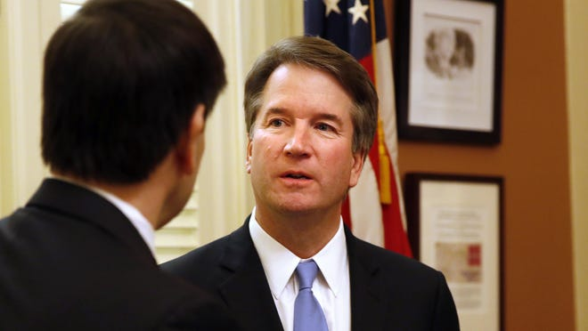 Supreme Court Justice nominee Brett Kavanaugh, right, talks with Sen. Marco Rubio, R-Fla., Wednesday, Aug. 1, 2018, on Capitol Hill in Washington. (AP Photo/Jacquelyn Martin)