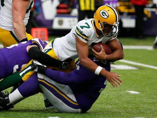 Green Bay Packers quarterback Brett Hundley (7) is