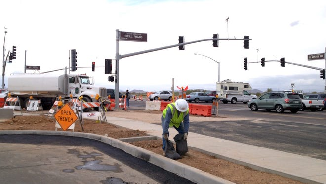 The traffic restrictions are a part of the El Mirage Road/Bell Road Intersection Improvement Project, which will install new traffic signals, street lighting, curbs, gutters and sidewalk at the intersection of El Mirage Road and Bell Road.