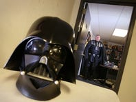 Darth Vader leaves his office at his gym, Allegiant Fitness, in Canandaigua Friday, Dec. 18, 2015.  Vader, 43, legally changed his name from Eric Welch to Darth Vader.