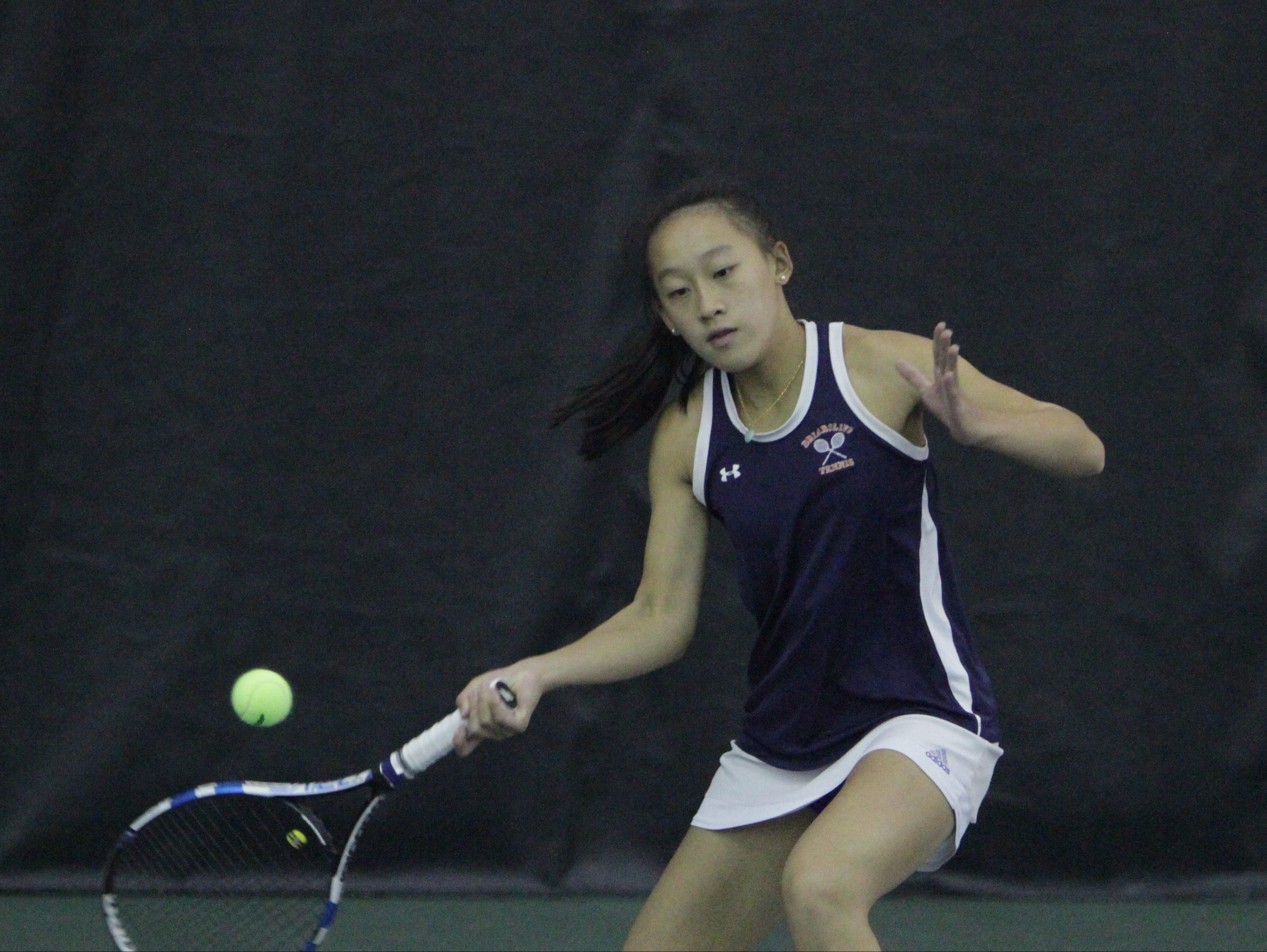 Briarcliff's Rebecca Lim hits a forehand shot during the 2016 Section 1 Tennis Tournament finals at Sound Shore Indoor Tennis in Port Chester on Sunday, Oct. 23rd, 2016.
