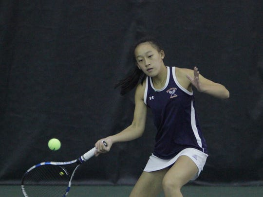 Briarcliff's Rebecca Lim hits a forehand shot during