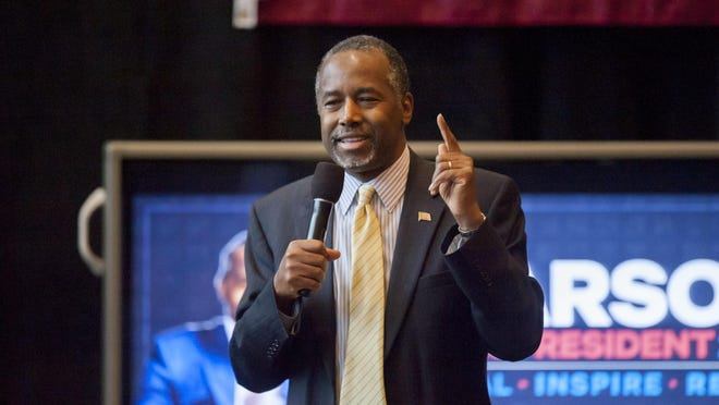 Presidential candidate Dr. Ben Carson speaks at the Convocation Center of Eastern Michigan University Wednesday.