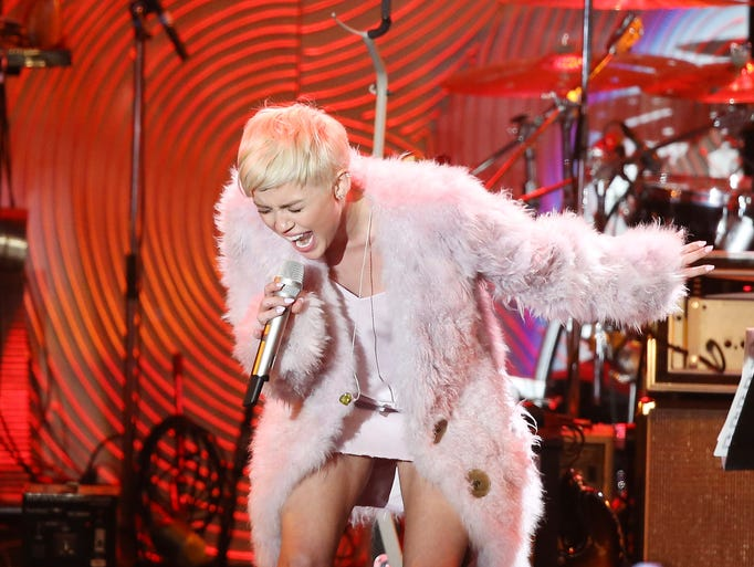 There's Miley! Cyrus performs at the gala.