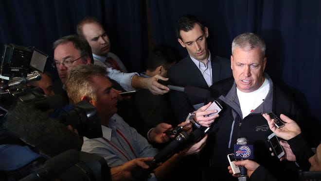 Bills coach Rex Ryan speaks to the media during the 2015 NFL Combine at Lucas Oil Stadium in February.