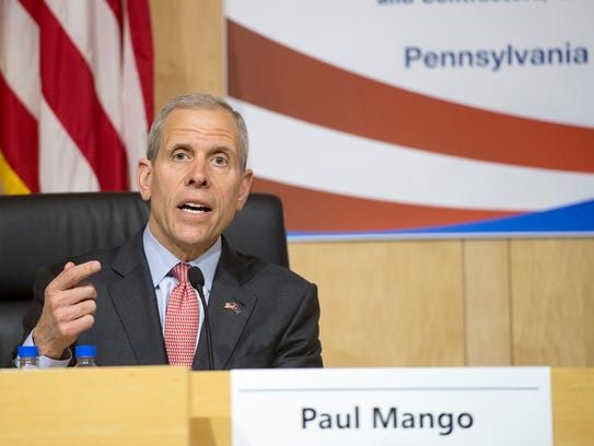 Paul Mango answers a question during a forum on April 16, 2018.
