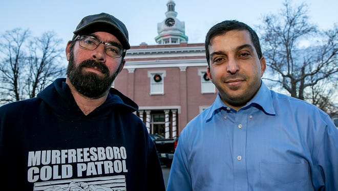 Jason Bennett, left, with the Murfreesboro Cold Patrol, and Abdou Kattih, director of the Murfreesboro Muslim Youth, have partnered  to bridge the gap between Christians and Muslims in Rutherford County.