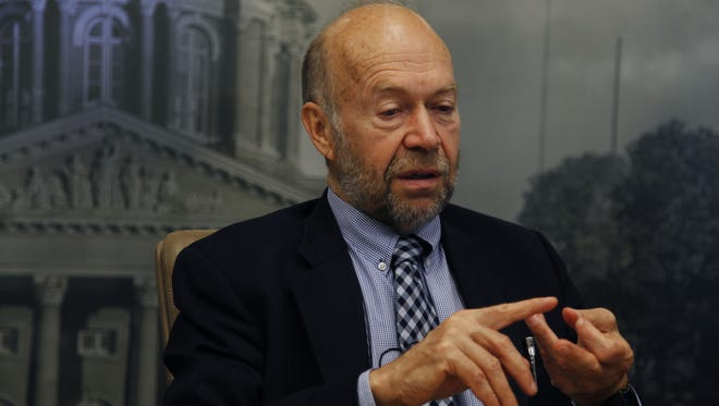 Climate scientist James Hansen meets with the Des Moines Register Editorial Board on Oct. 15, 2014 in Des Moines.