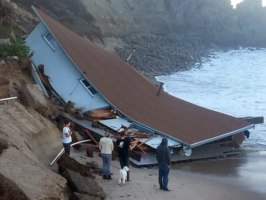 A wave-damaged lifeguard building at Sycamore Cove in Point Mugu State Park, Calif.
