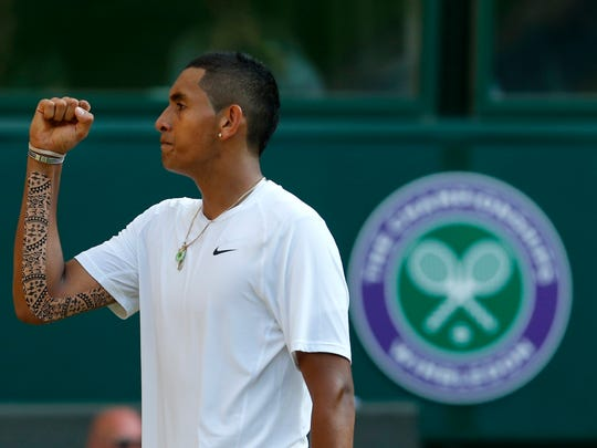 Nick Kyrgios of Australia, seen celebrating after winning a point against Rafael Nadal at the All England Lawn Tennis Championships in Wimbledon in 2014, did a photo shoot at The Saguaro in Palm Springs. The images are published in the May edition of Vogue magazine.