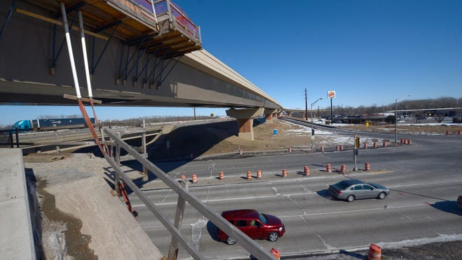 Velp Avenue passes under the new ramp that will carry traffic from northbound U.S. 41 to southbound Interstate 43.