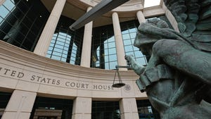 The statue of the scales of Justice located in front of the Federal Courthouse Building in downtown Shreveport.