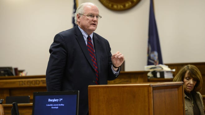"""Broome County District Attorney Gerald Mollen was elected to his first four-year term in 1987. Broome County District Attorney Gerald Mollen outlines what the charges mean. Says Talamantez did the """"heavy lifting,"""" but Saunders formed intent for murder."""