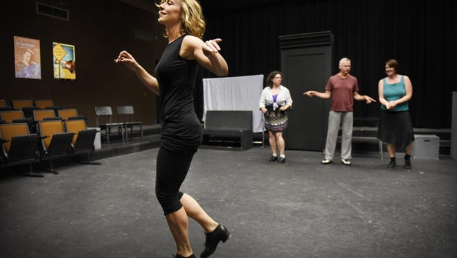 Central Minnesota Rhythm League members, from left, Catie Bunde, Lucille Guinta-Bates, David DeBlieck and Jodel Page rehearse Thursday for their upcoming performance as part of the Sod House Theater's 14-city tour around outstate Minnesota. The St. Cloud performance will be July 24 at D.B. Searle's.