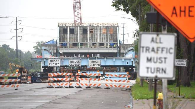 Construction at the Fort Street drawbridge over the Rouge River on July 9, 2015.