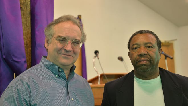 Steve Paulus, left, of Grace Covenant Church and James McIntosh, right, of Beverley Manor Baptist Church, both in Staunton.